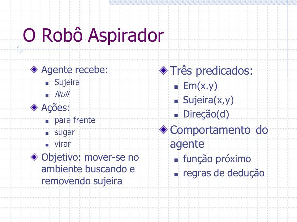 O Robô Aspirador Três predicados: Comportamento do agente