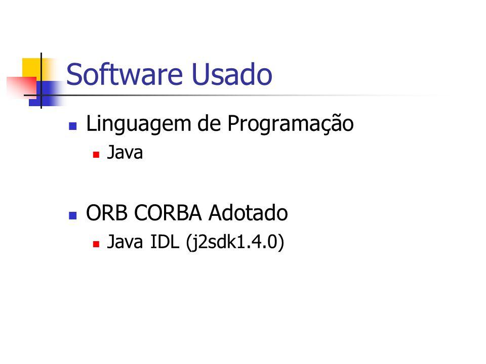Software Usado Linguagem de Programação ORB CORBA Adotado Java