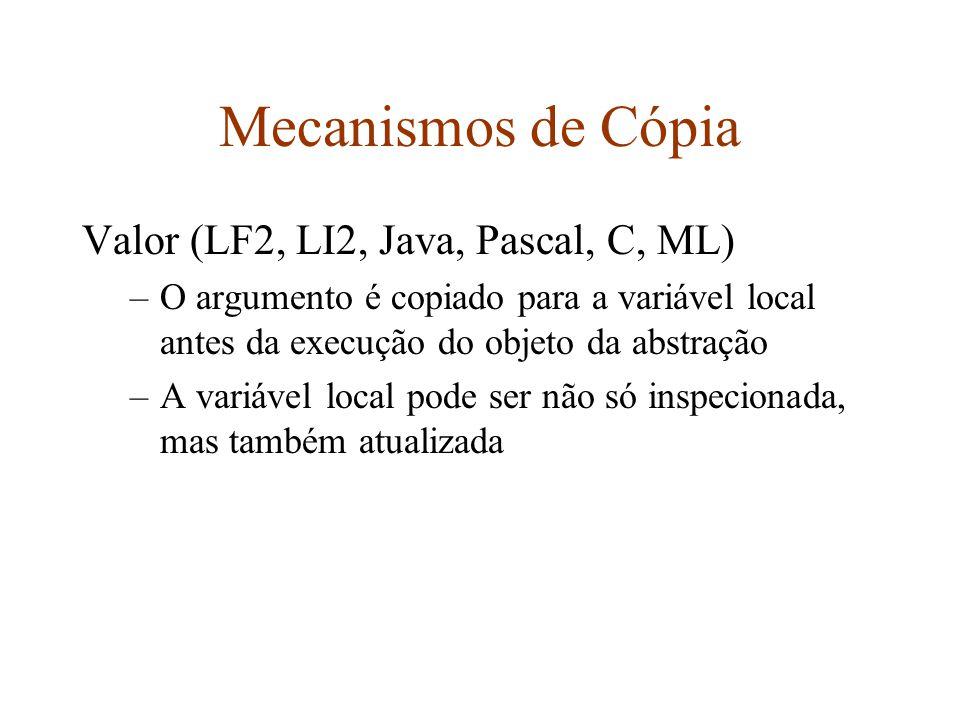 Mecanismos de Cópia Valor (LF2, LI2, Java, Pascal, C, ML)