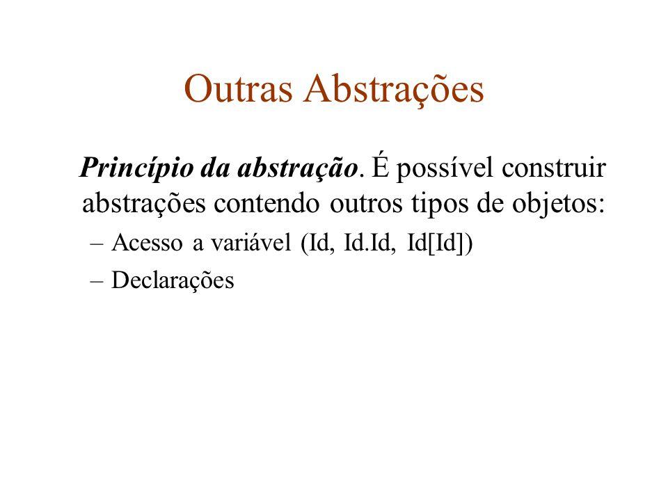 Outras Abstrações Princípio da abstração. É possível construir abstrações contendo outros tipos de objetos: