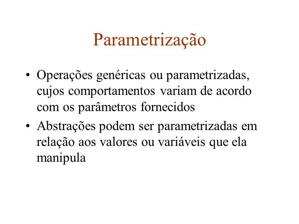Parametrização Operações genéricas ou parametrizadas, cujos comportamentos variam de acordo com os parâmetros fornecidos.