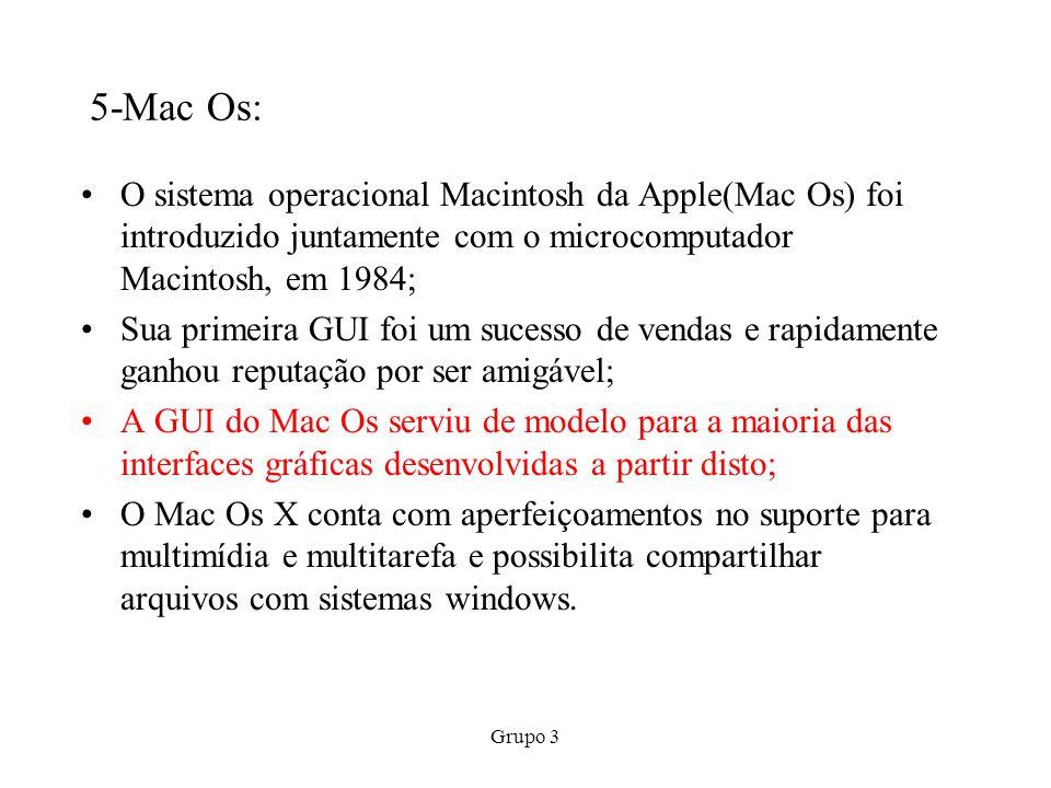 5-Mac Os: O sistema operacional Macintosh da Apple(Mac Os) foi introduzido juntamente com o microcomputador Macintosh, em 1984;