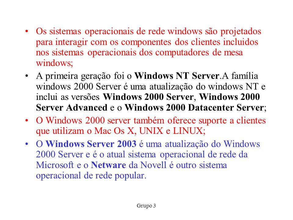Os sistemas operacionais de rede windows são projetados para interagir com os componentes dos clientes incluidos nos sistemas operacionais dos computadores de mesa windows;