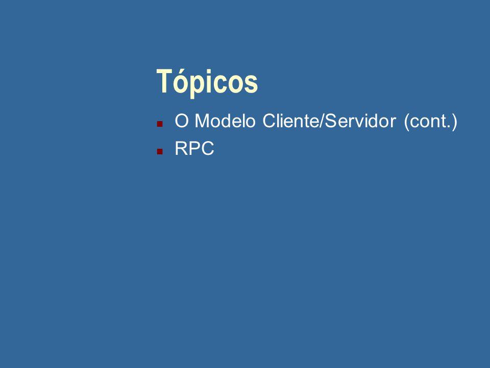 05/04/2017 Tópicos O Modelo Cliente/Servidor (cont.) RPC
