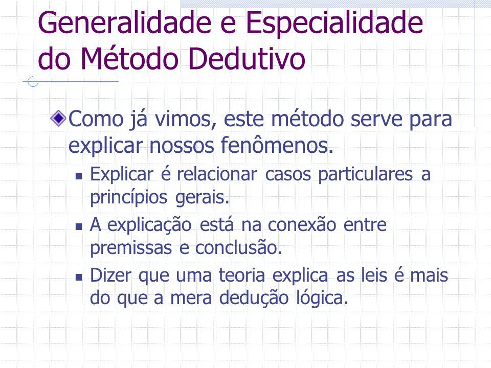 Generalidade e Especialidade do Método Dedutivo
