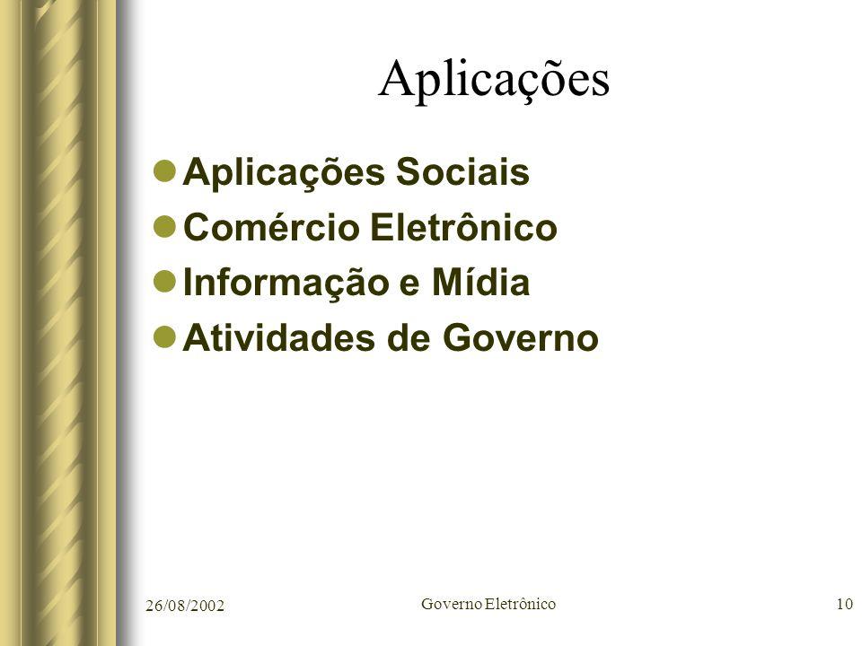Aplicações Aplicações Sociais Comércio Eletrônico Informação e Mídia