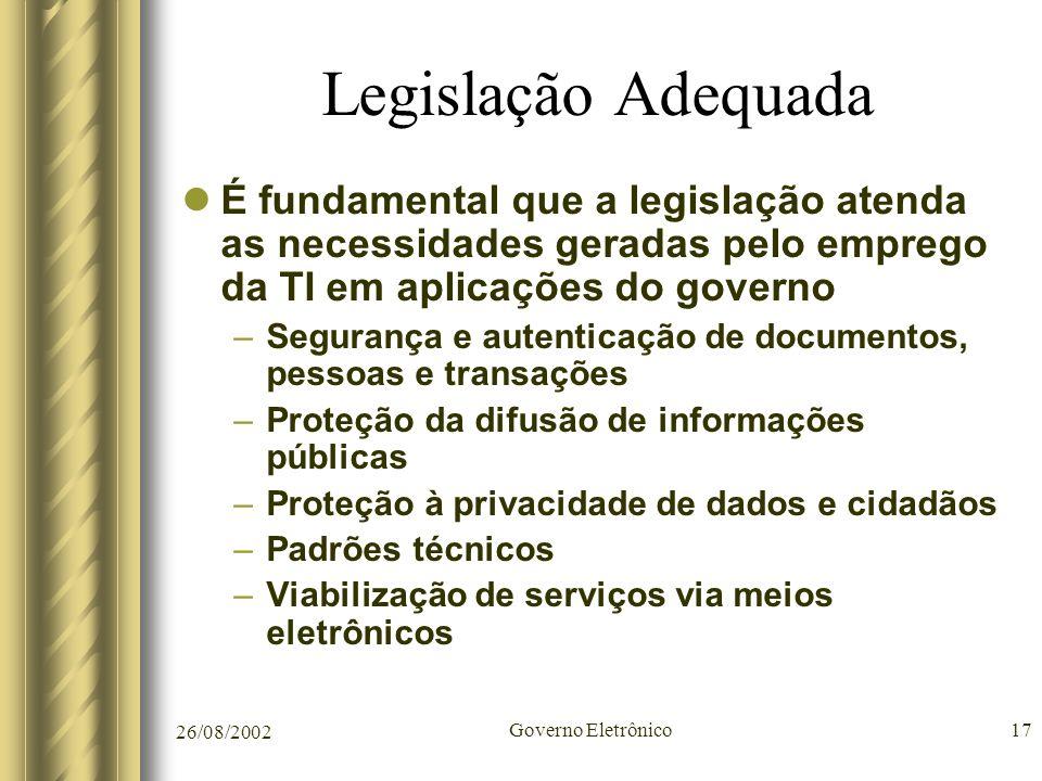 Legislação Adequada É fundamental que a legislação atenda as necessidades geradas pelo emprego da TI em aplicações do governo.