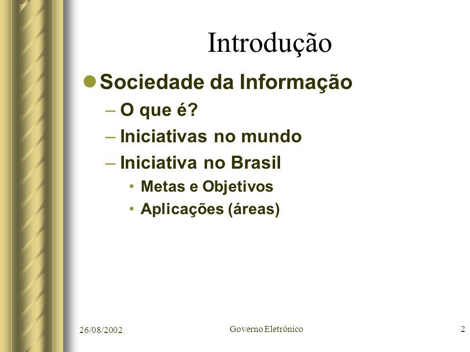 Introdução Sociedade da Informação O que é Iniciativas no mundo