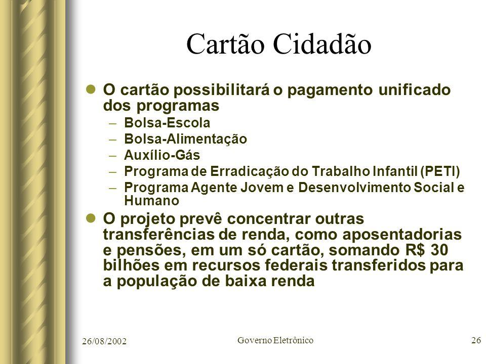 Cartão Cidadão O cartão possibilitará o pagamento unificado dos programas. Bolsa-Escola. Bolsa-Alimentação.