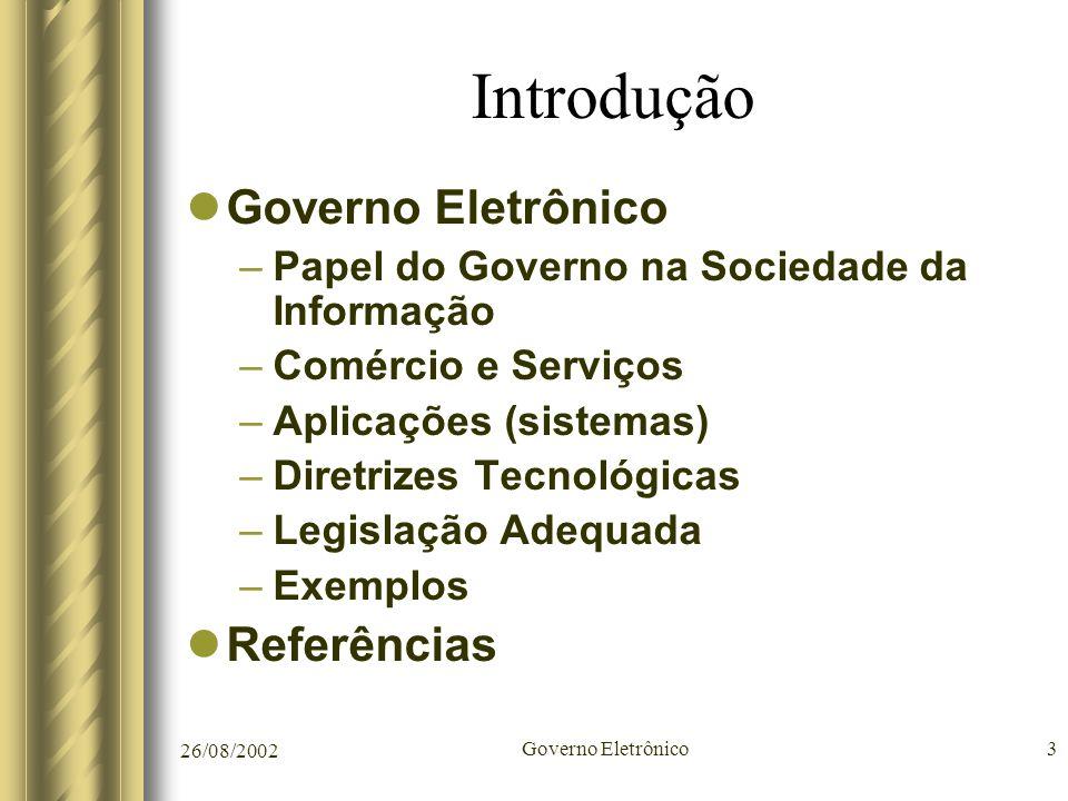Introdução Governo Eletrônico Referências