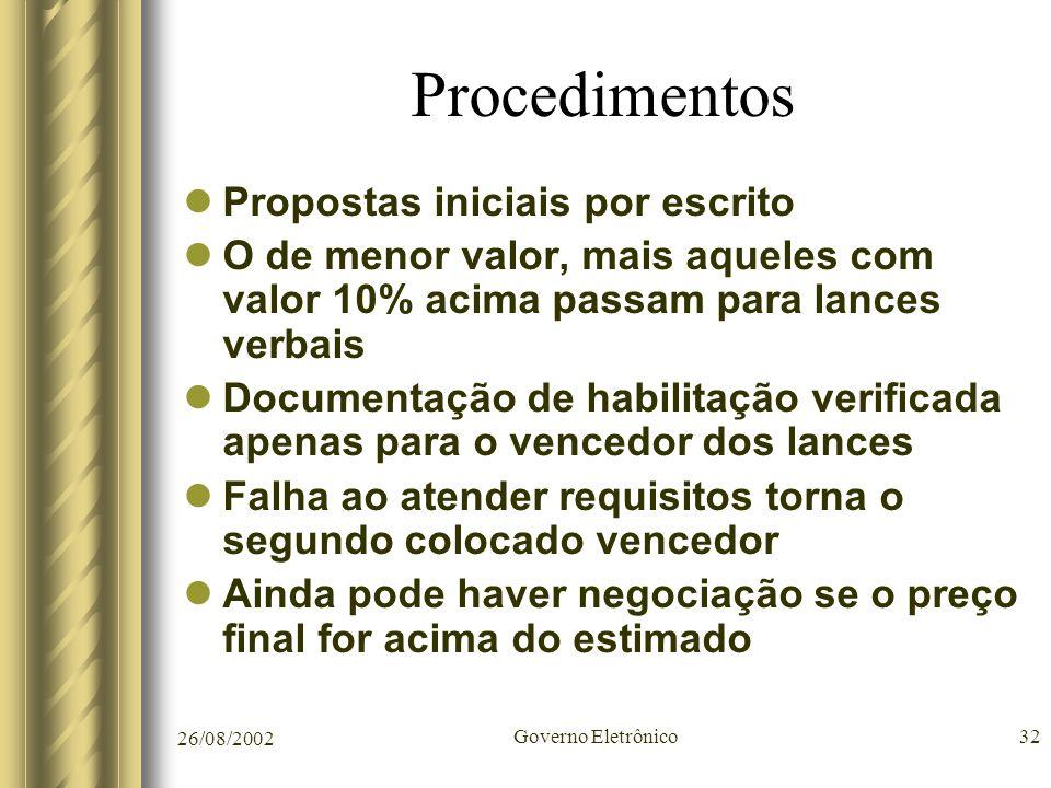 Procedimentos Propostas iniciais por escrito