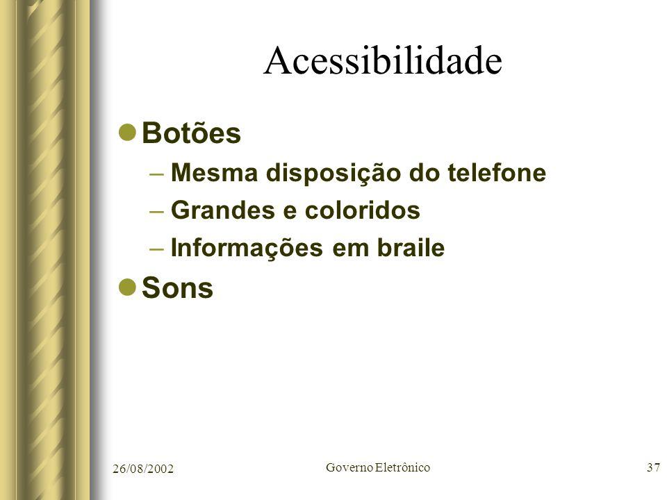 Acessibilidade Botões Sons Mesma disposição do telefone