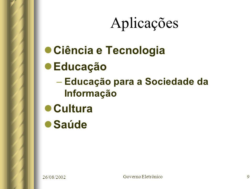 Aplicações Ciência e Tecnologia Educação Cultura Saúde