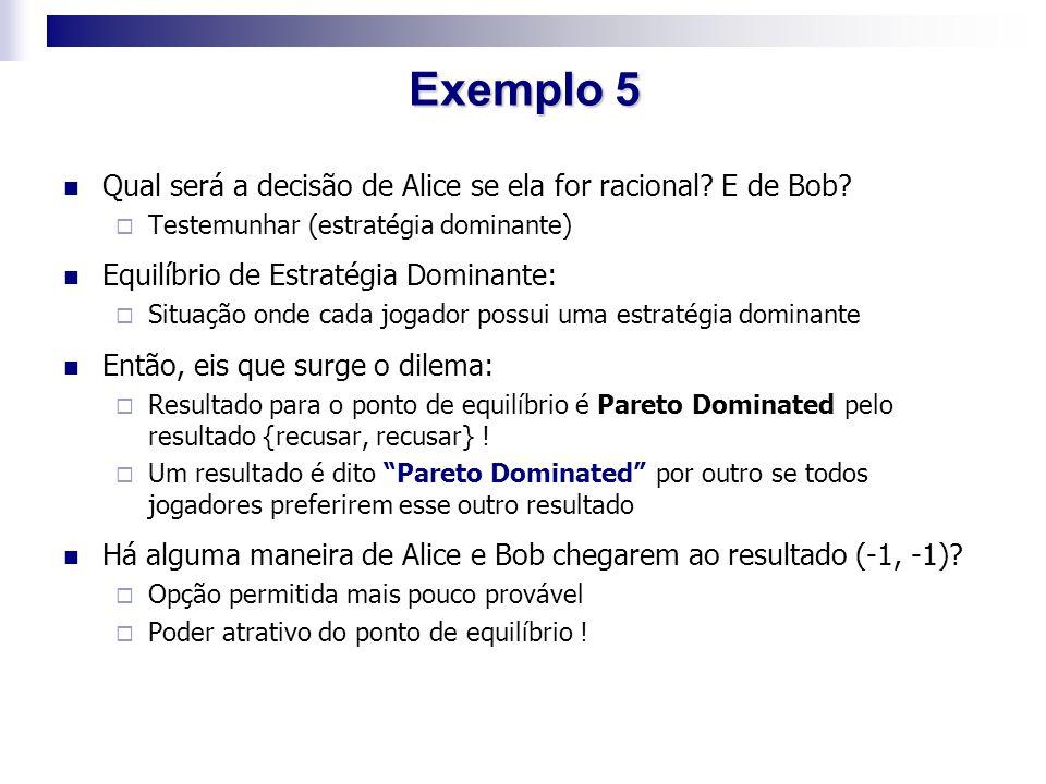 Exemplo 5 Qual será a decisão de Alice se ela for racional E de Bob