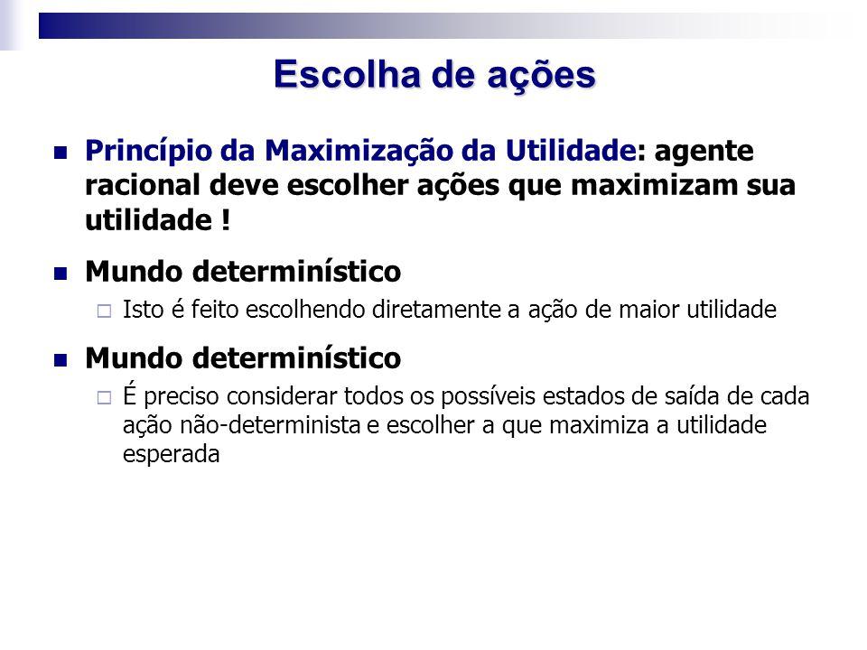 Escolha de ações Princípio da Maximização da Utilidade: agente racional deve escolher ações que maximizam sua utilidade !
