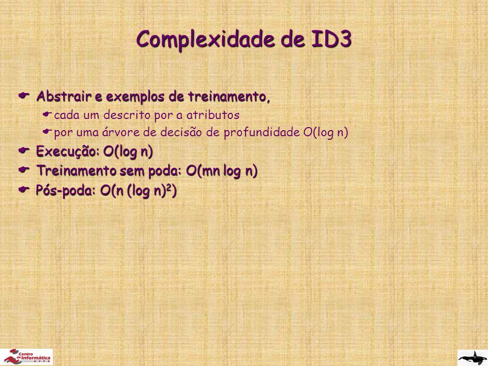 Complexidade de ID3 Abstrair e exemplos de treinamento,