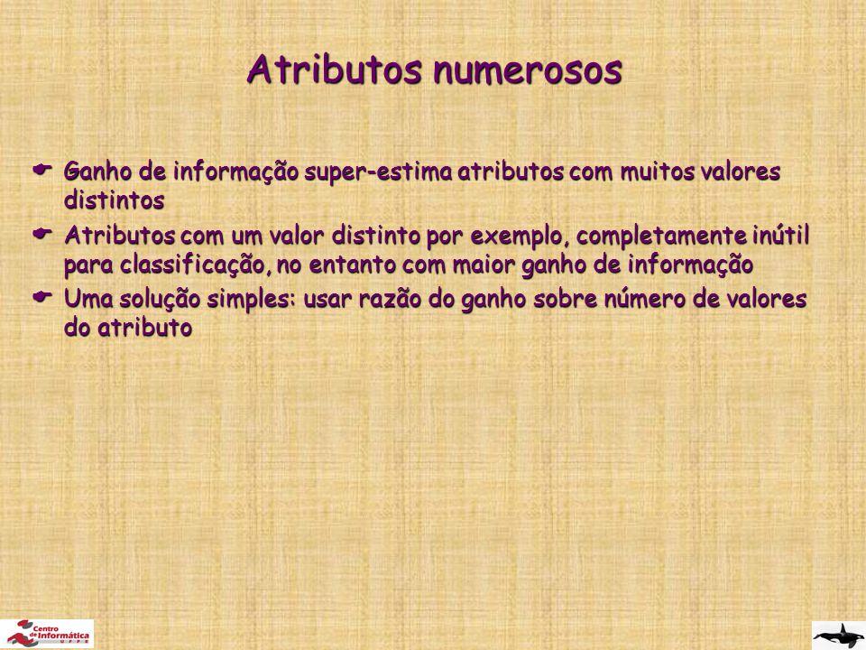 Atributos numerosos Ganho de informação super-estima atributos com muitos valores distintos.