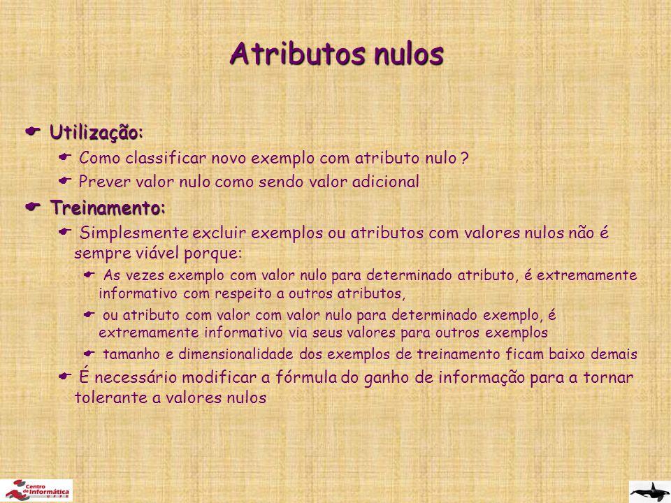 Atributos nulos Utilização: Treinamento: