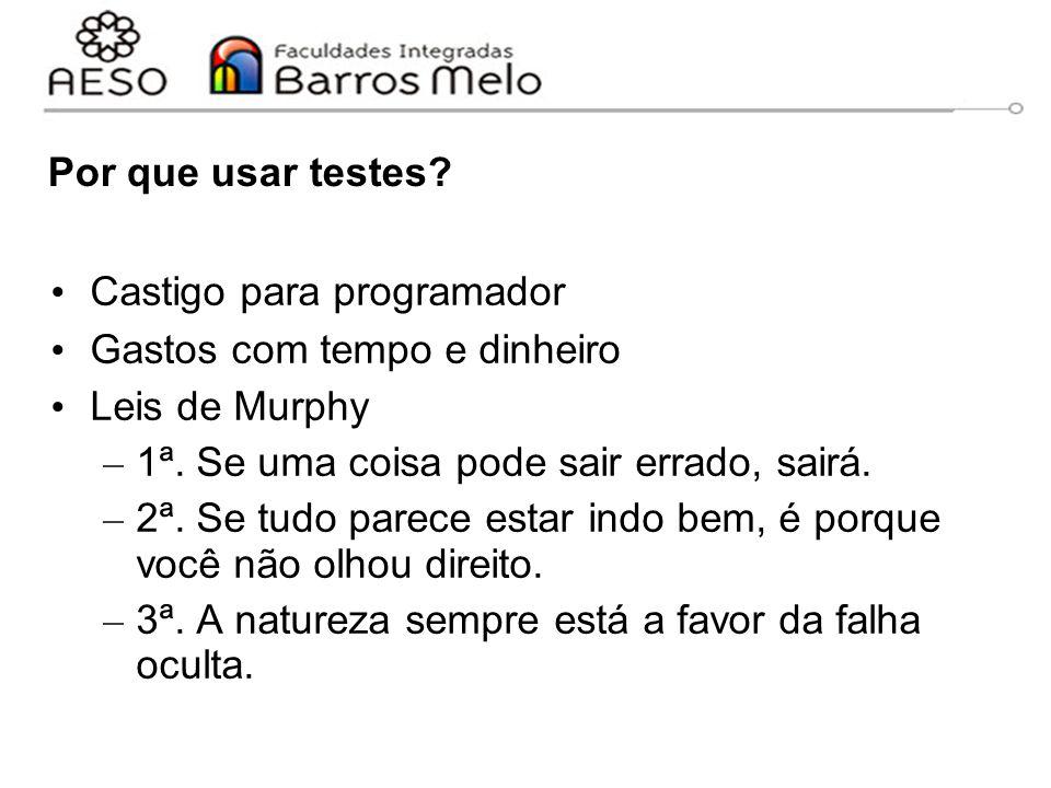 Por que usar testes Castigo para programador. Gastos com tempo e dinheiro. Leis de Murphy. 1ª. Se uma coisa pode sair errado, sairá.