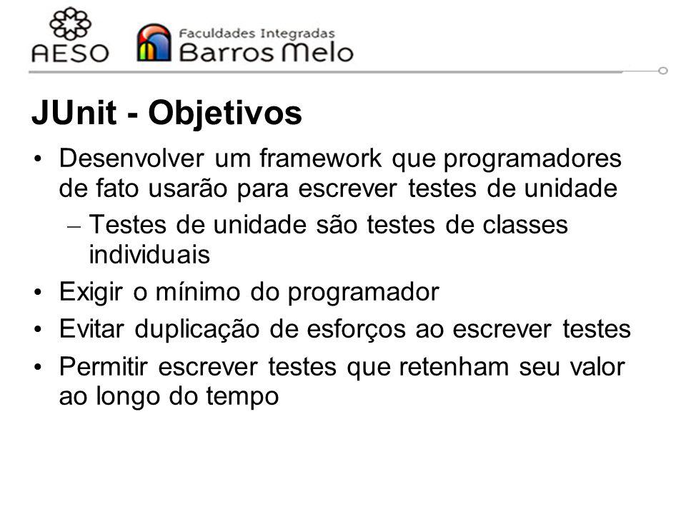 JUnit - Objetivos Desenvolver um framework que programadores de fato usarão para escrever testes de unidade.