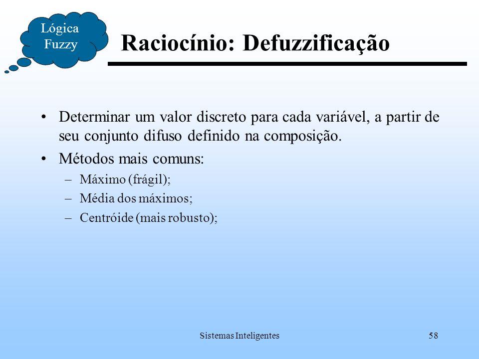 Raciocínio: Defuzzificação