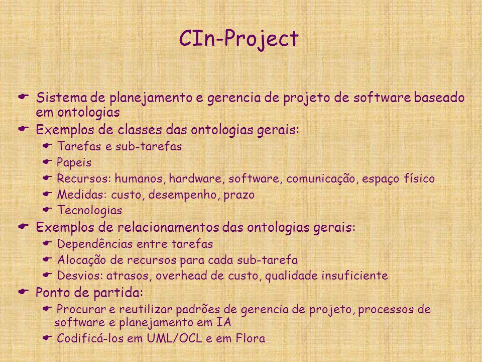 CIn-Project Sistema de planejamento e gerencia de projeto de software baseado em ontologias. Exemplos de classes das ontologias gerais: