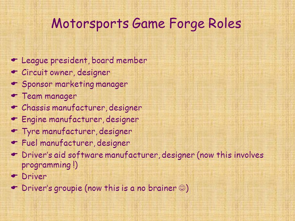 Motorsports Game Forge Roles