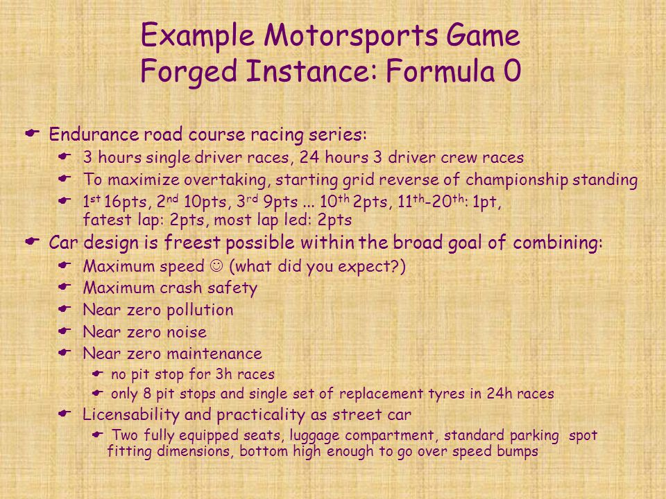 Example Motorsports Game Forged Instance: Formula 0