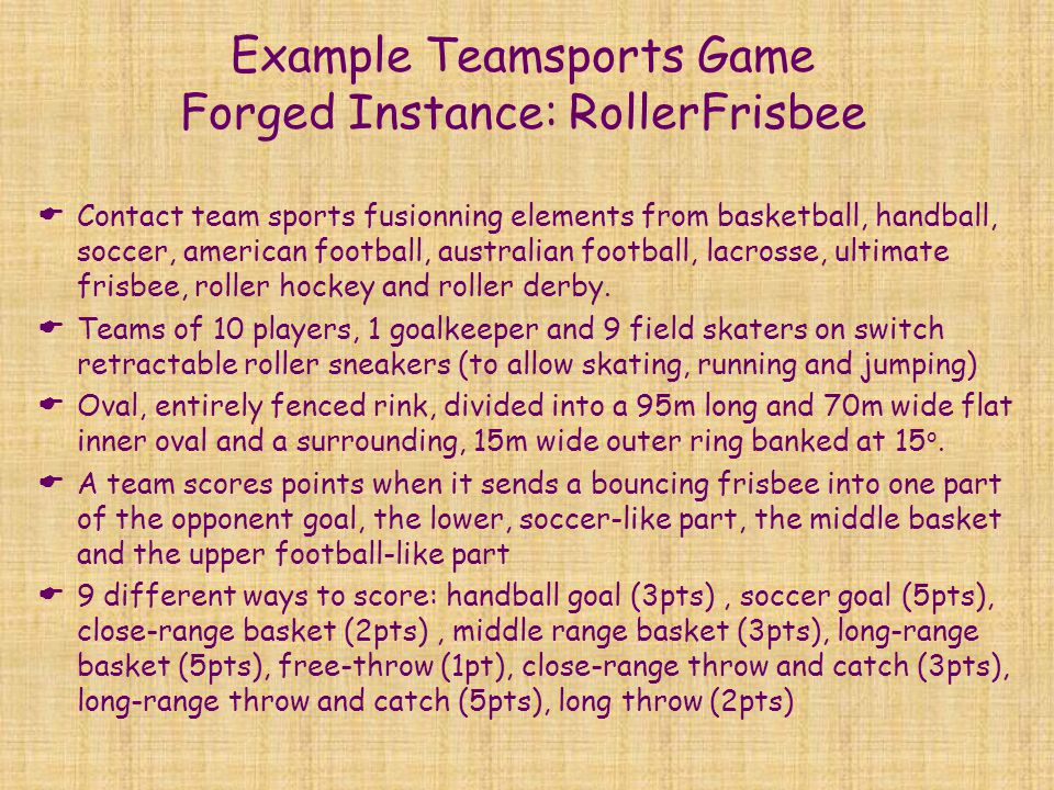 Example Teamsports Game Forged Instance: RollerFrisbee
