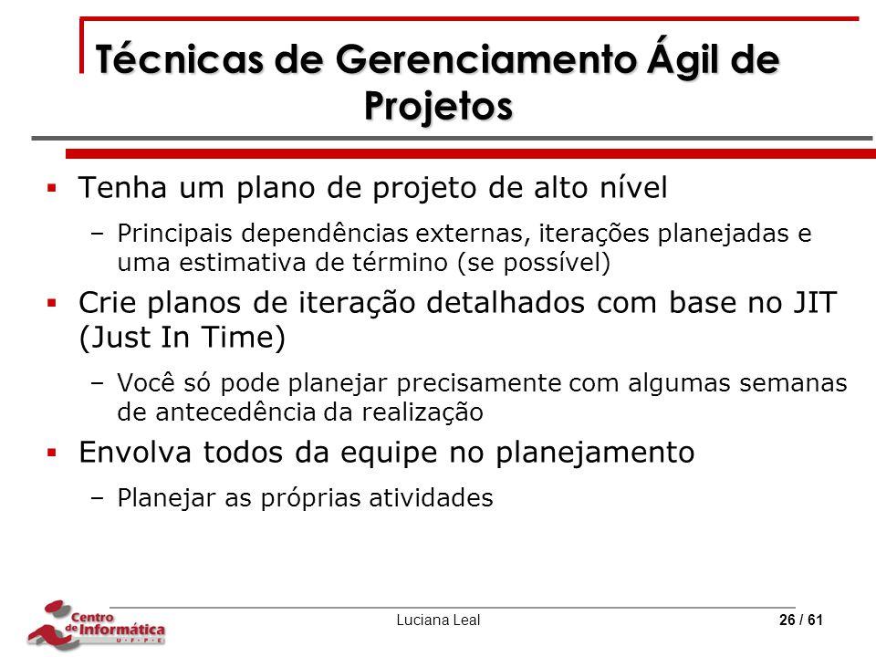 Técnicas de Gerenciamento Ágil de Projetos