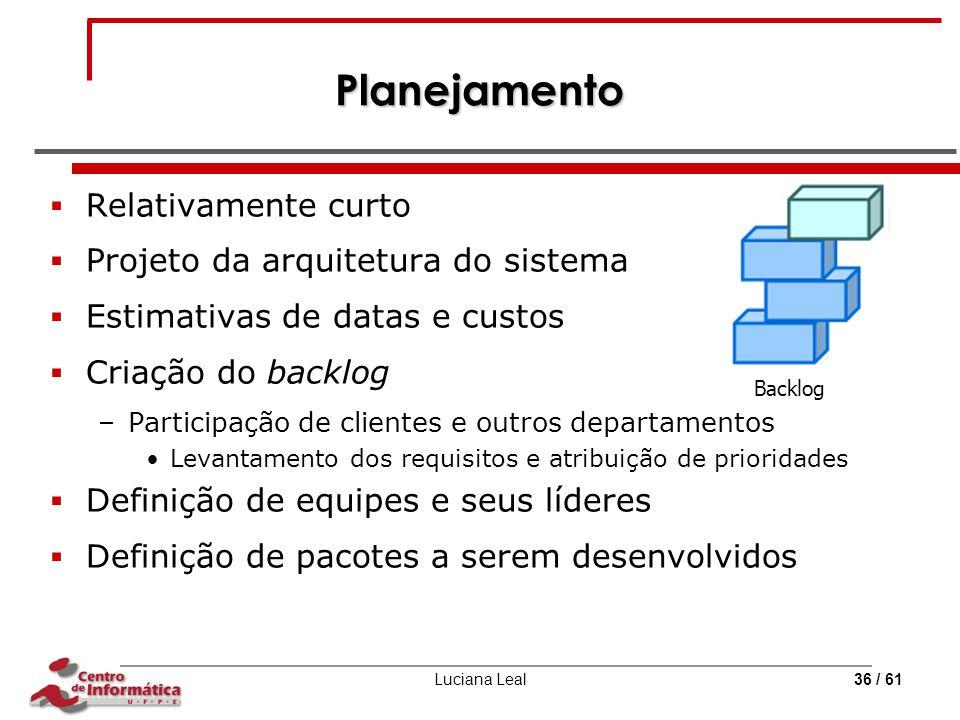 Planejamento Relativamente curto Projeto da arquitetura do sistema