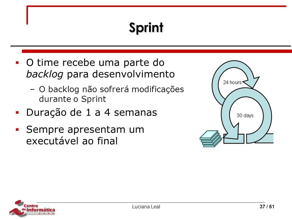 Sprint O time recebe uma parte do backlog para desenvolvimento