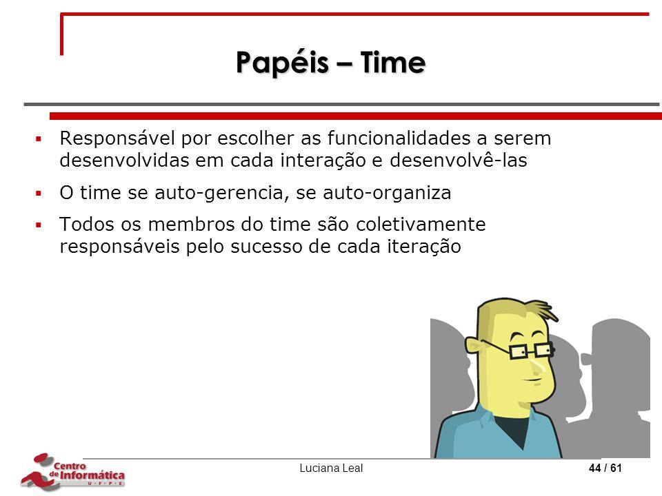 Papéis – Time Responsável por escolher as funcionalidades a serem desenvolvidas em cada interação e desenvolvê-las.