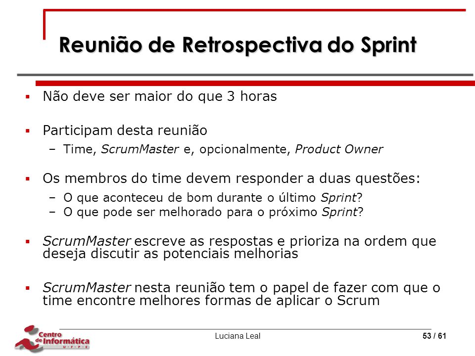 Reunião de Retrospectiva do Sprint
