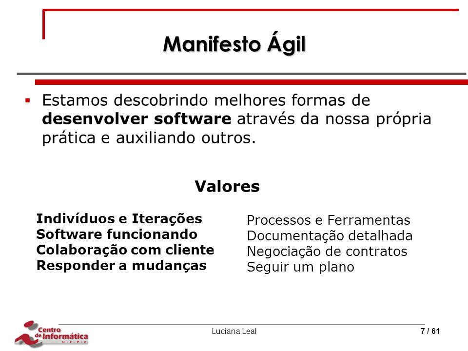 Manifesto Ágil Estamos descobrindo melhores formas de desenvolver software através da nossa própria prática e auxiliando outros.