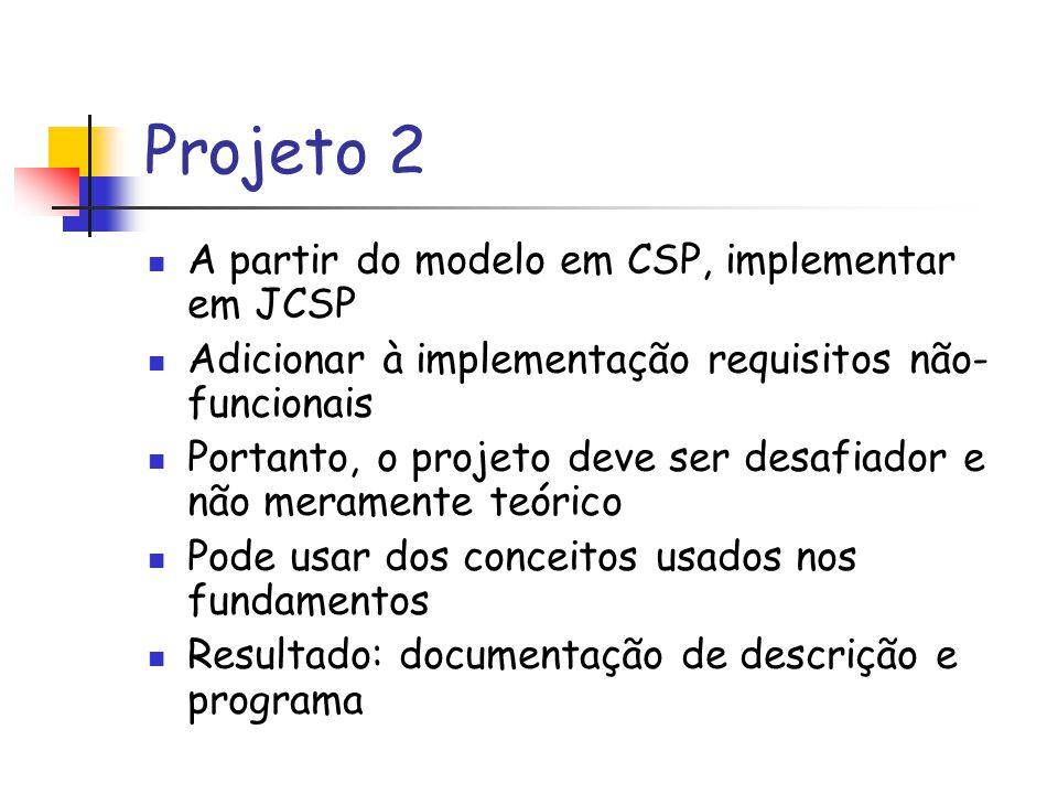 Projeto 2 A partir do modelo em CSP, implementar em JCSP