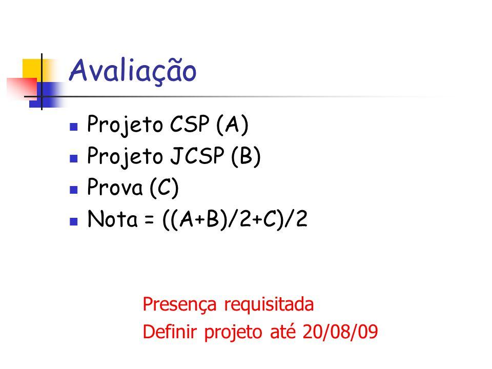 Avaliação Projeto CSP (A) Projeto JCSP (B) Prova (C)