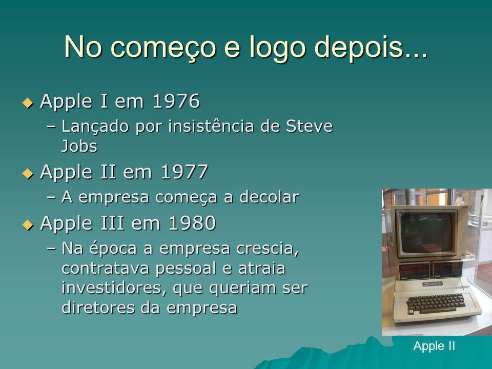 No começo e logo depois... Apple I em 1976 Apple II em 1977