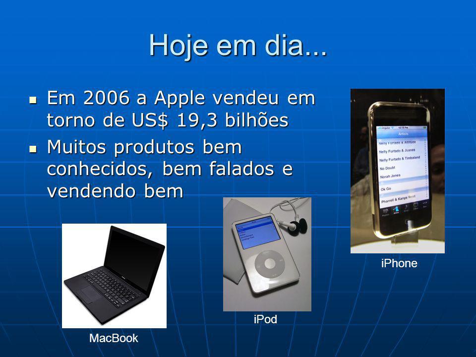 Hoje em dia... Em 2006 a Apple vendeu em torno de US$ 19,3 bilhões