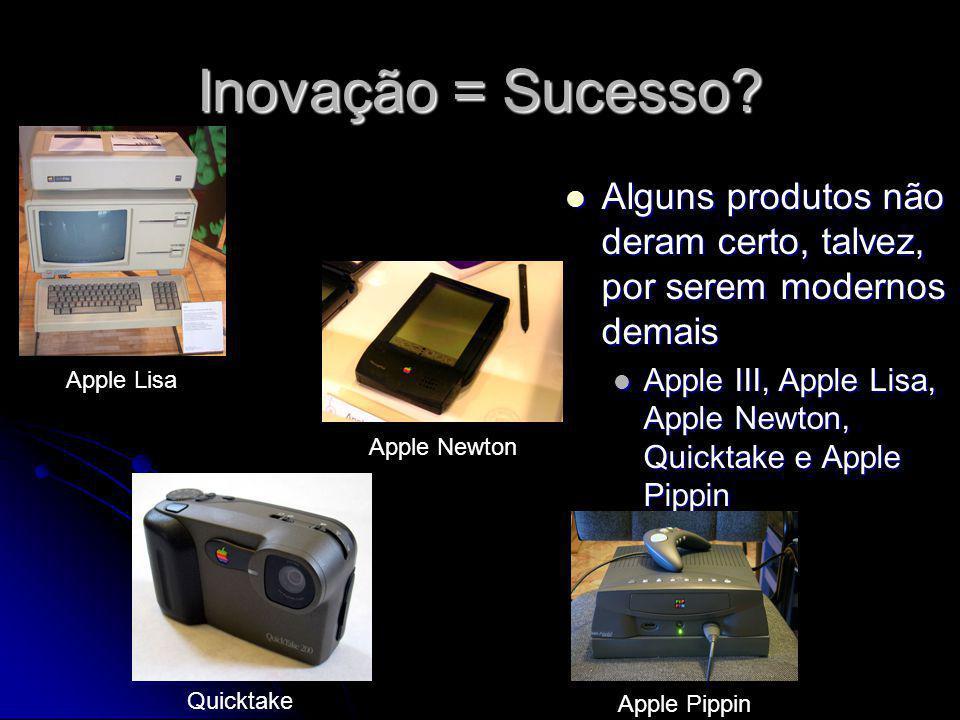 Inovação = Sucesso Alguns produtos não deram certo, talvez, por serem modernos demais.