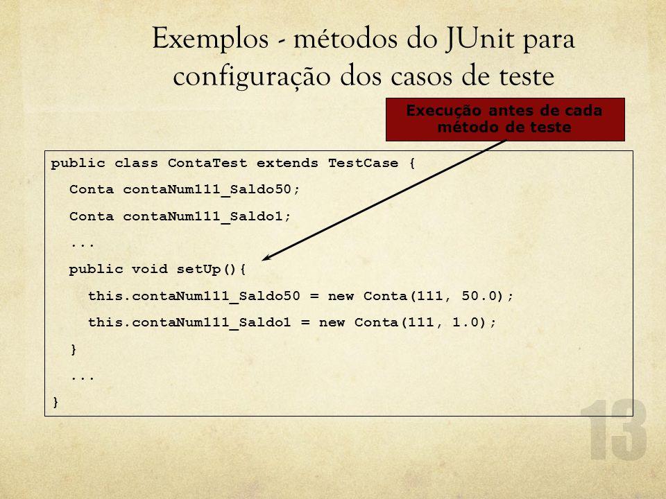 Exemplos - métodos do JUnit para configuração dos casos de teste