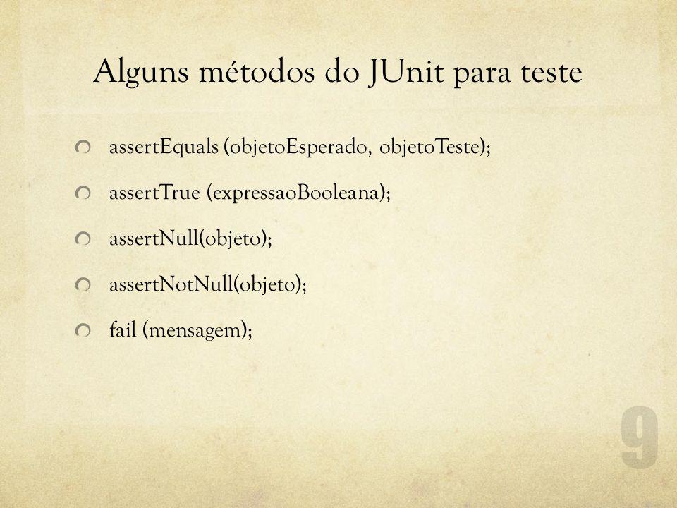 Alguns métodos do JUnit para teste