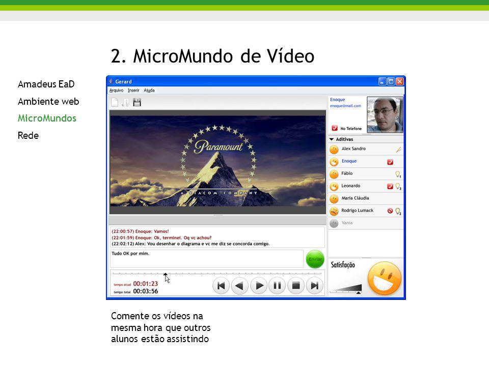 2. MicroMundo de Vídeo Amadeus EaD Ambiente web MicroMundos Rede