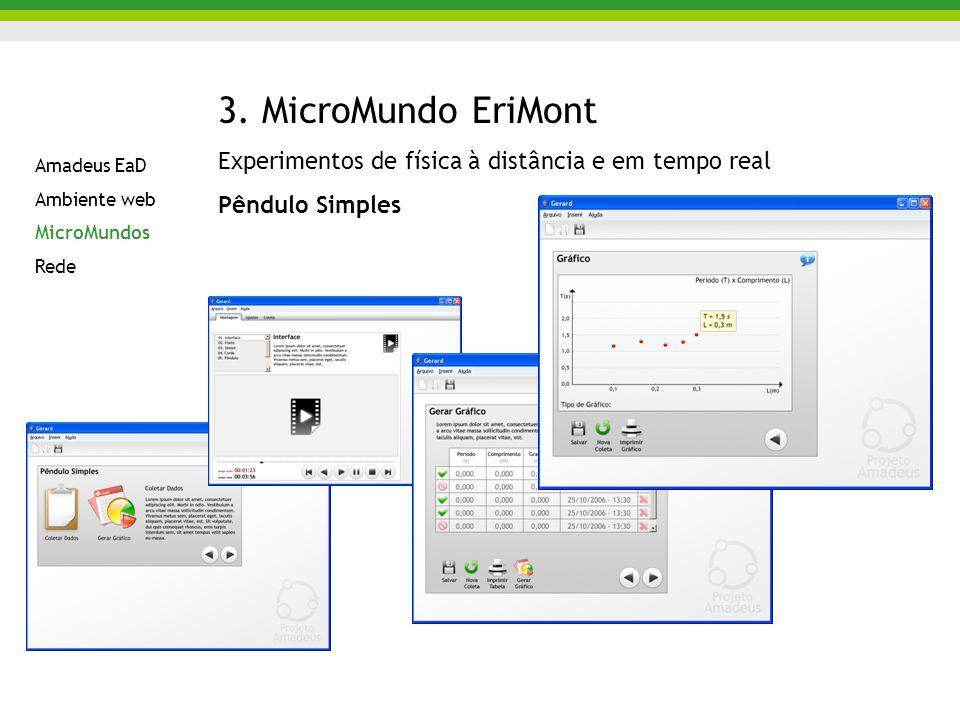 3. MicroMundo EriMont Experimentos de física à distância e em tempo real. Pêndulo Simples. Amadeus EaD.