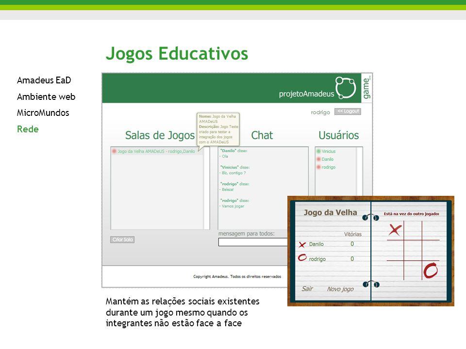 Jogos Educativos Amadeus EaD Ambiente web MicroMundos Rede