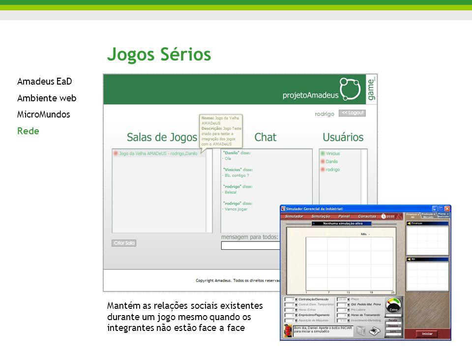 Jogos Sérios Amadeus EaD Ambiente web MicroMundos Rede