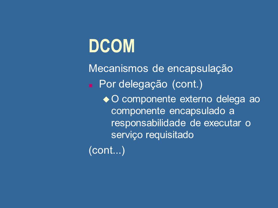 DCOM Mecanismos de encapsulação Por delegação (cont.) (cont...)