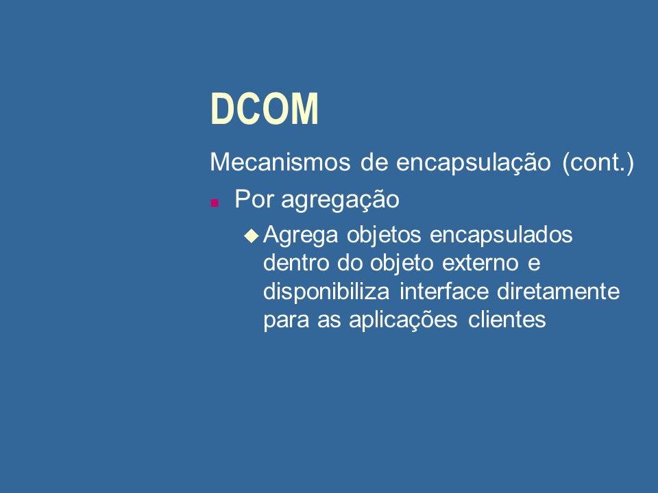 DCOM Mecanismos de encapsulação (cont.) Por agregação