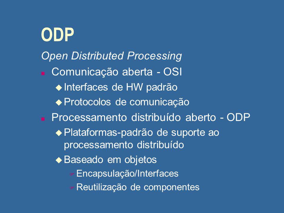 ODP Open Distributed Processing Comunicação aberta - OSI