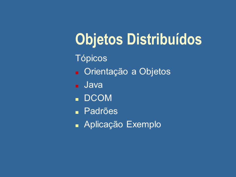 Objetos Distribuídos Tópicos Orientação a Objetos Java DCOM Padrões